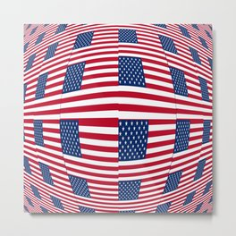 flag of the usa – tribute to Vasarely Metal Print