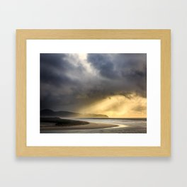 Sunlight and Storms Over Cape Lookout, Oregon Framed Art Print