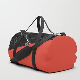 Black Marble with Cherry Tomato Color Duffle Bag