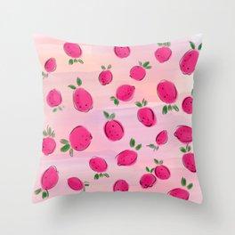 Juicy tropical pink mango Throw Pillow