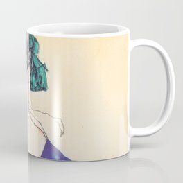 """Egon Schiele """"Rückenansicht eines Mädchens im blauen Rock (Back view of  a girl in a blue dress)"""" Coffee Mug"""