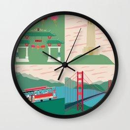 San Francisco City Chinatown Coit Tower Tram Golden Gate Bridge Wall Clock