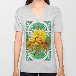 BEAUTIFUL LACY GREEN ART  & YELLOW ROSE DESIGN Unisex V-Neck