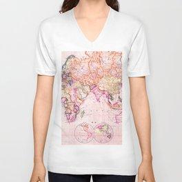 Vintage Map Pattern Unisex V-Neck