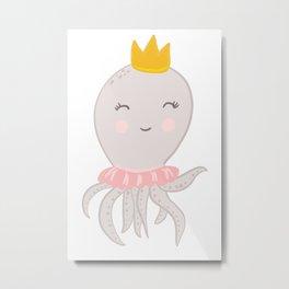Cute octopus princess illustration Metal Print