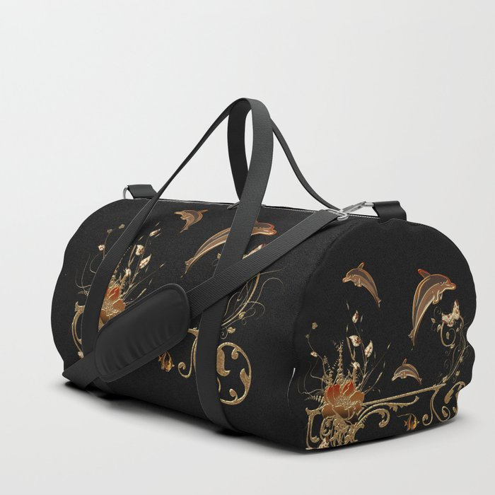 3c91f0b228 Funny dolphins with flowers Duffle Bag by nicky2342