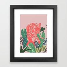 Aloha Tiger, Tiger print, Animal print, jungle print Framed Art Print