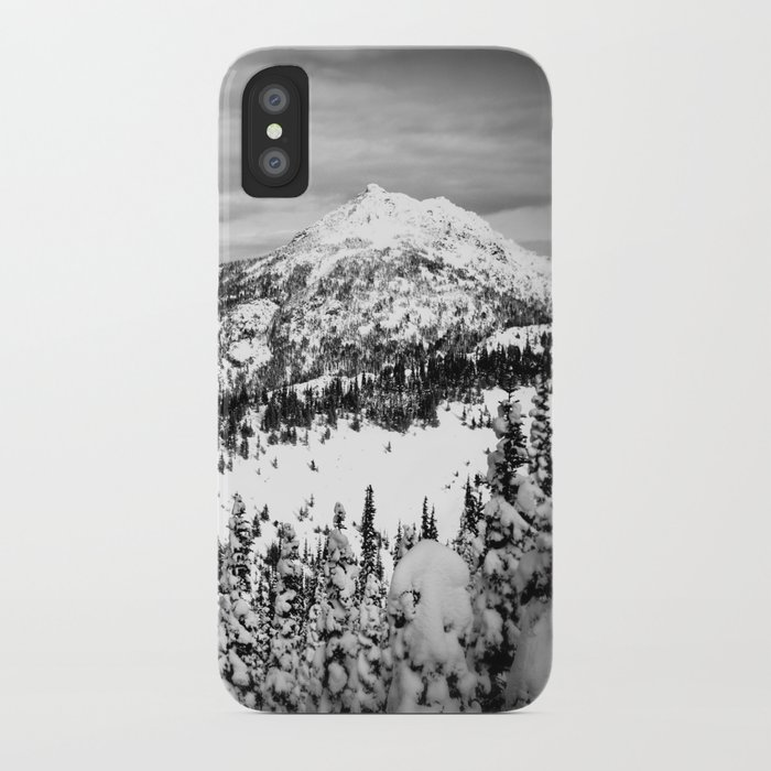 Snowy Mountain Peak Black and White iPhone Case