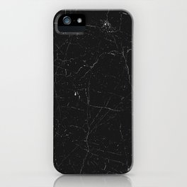 Black distressed marble texture iPhone Case