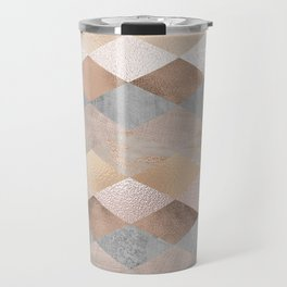 Copper and Blush Rose Gold Marble Argyle Travel Mug