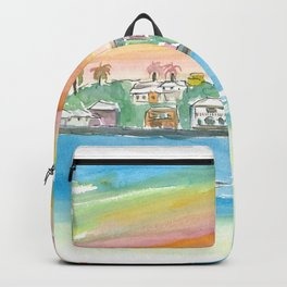 Bermuda Shoreline with Houses Palms and Boat Backpack
