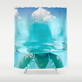 Little girl in water, with clouds Shower Curtain