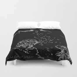 Two Tailed Duck and Jellyfish Black and Dark Deep Sea Duvet Cover