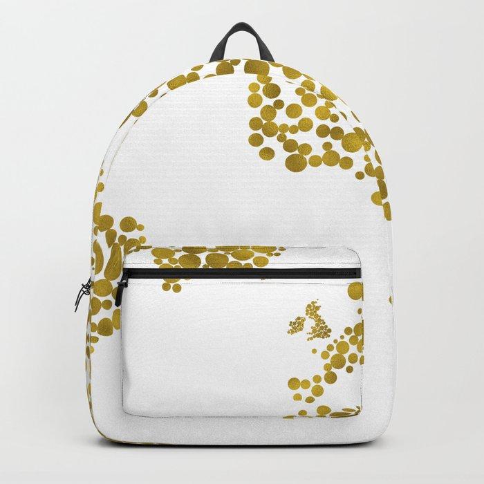 Gold Foil Map - Metallic Gold Globe Design Backpack