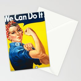Rosie The Riveter Vintage Women Empower Women's Rights Sexual Harassment Stationery Cards