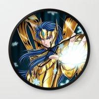 camus Wall Clocks featuring Aquarius Camus-God Cloth by Studio Kawaii