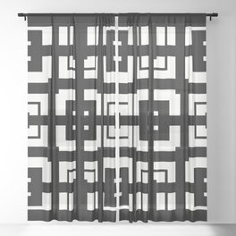 PLAZA stark black and white repeating square pattern with border Sheer Curtain