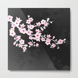 Pink Black Cherry Blossom Metal Print