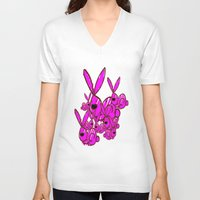 bunnies V-neck T-shirts featuring Bunnies by Christa Bethune Smith
