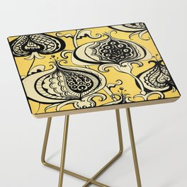 Black and Yellow Floral Side Table