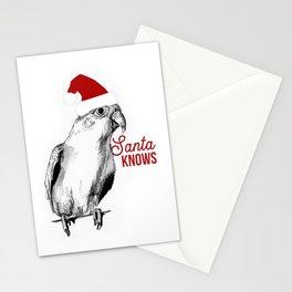 "Christmas Bird ""Santa Knows"" Stationery Cards"