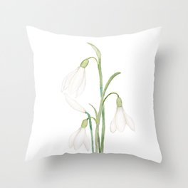 angelic snowdrop flowers watercolor Throw Pillow