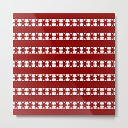 Christmas Snow Flakes Warm Red Metal Print