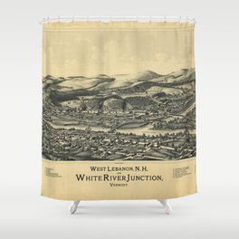 West Lebanon, New Hampshire and White River Junction, Vermont (1889) Shower Curtain