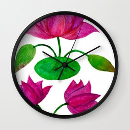 Lotus with buds and leaves Wall Clock