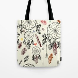 Bohemian print design with hand drawn dreamcatchers and feathers Tote Bag