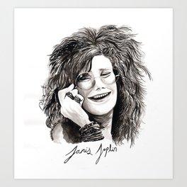Janis on ink Art Print