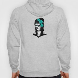 Day of the Dead Sugar Skull Girl with Teal Blue Roses Hoody