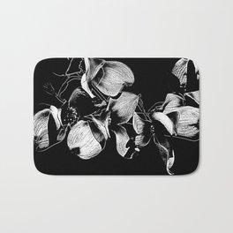 Dogwood Tree Flowers (black background) Bath Mat