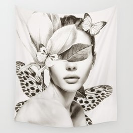 PORTRAIT /Woman with flower and butterflies Wall Tapestry