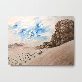 Desert at sunset- Wadi Rum, Jordan in pinks and blues Metal Print