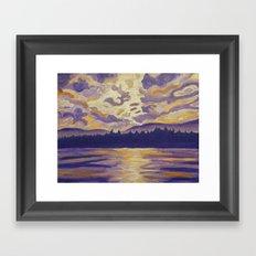 Okanagan Landscape in Purple and Hansa Framed Art Print