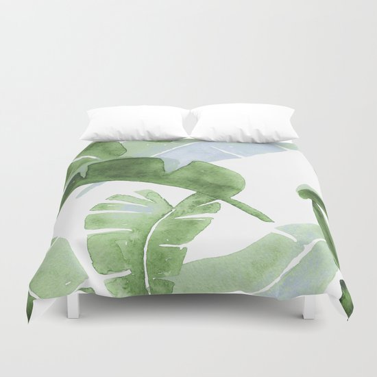 Tropical Leaves Green And Blue Duvet Cover By Wheimay