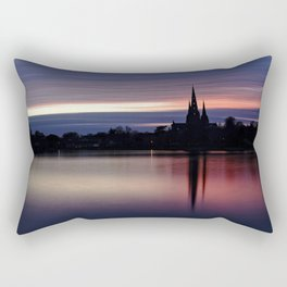 Pink Sky Over The Lichfield Cathedral Rectangular Pillow
