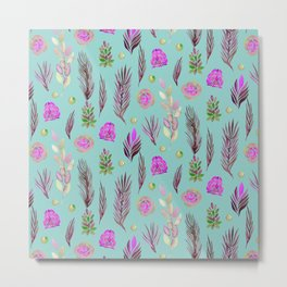 Hand painted pink lavender teal watercolor floral leaves Metal Print
