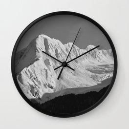 Portage Valley Mountain Glacier - B & W Wall Clock