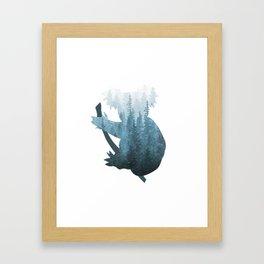 Misty Forest Koala Bear - Blue Framed Art Print