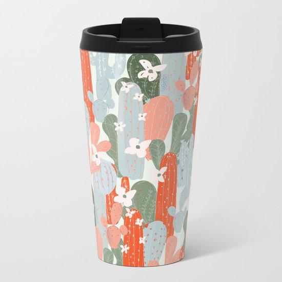 Floral Cactus Metal Travel Mug