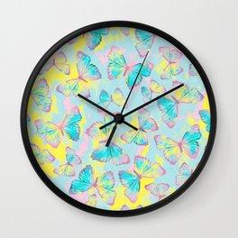 BUTTERFLIES YELLOW Wall Clock