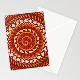 Retro Abstract 60s 70s Polynesian Tattoo Design Vintage Red Stationery Cards