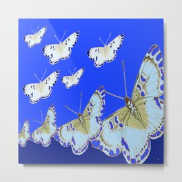 PATTERN OF BLUE & WHITE BUTTERFLIES MODERN ART Metal Print
