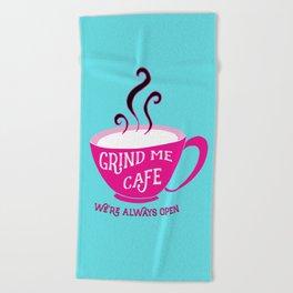 Grind Me Cafe - Blue Beach Towel
