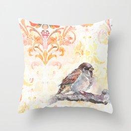 Sparrow in a Damask Autumn Throw Pillow