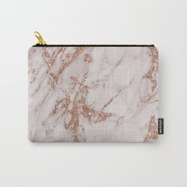 Abstract blush gray rose gold glitter marble Carry-All Pouch