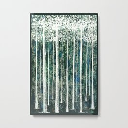 Hand Painted Green Christmas Jungle Metal Print