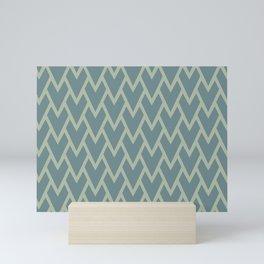 Soft Aqua Blue Green Tessellation Line Pattern 17 2021 Color of the Year Aegean Teal Salisbury Green Mini Art Print